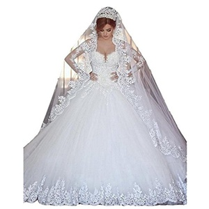 Lilac Dress Women Lace Wedding Dresses Long Sleeve Chapel Train Wedding Dress