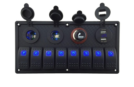 IZTOSS 12V-24V DC 8 gang Waterproof marine blue led switch panel with double led power socket Cigarette Lighter and 4.2A USB voltmeter