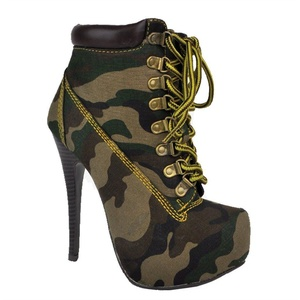 Women's Lace Up Bootie Platform High Heel Ankle (Green Camo-A)