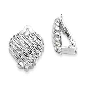 .925 Sterling Silver 19 MM Heart Clip Back Non-pierced Earrings