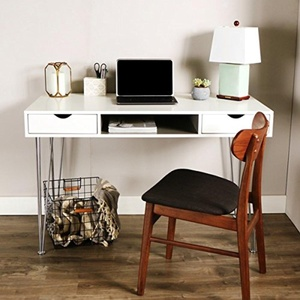 48-inch Chrome Steel Hairpin Legs Color Accent Desk -White