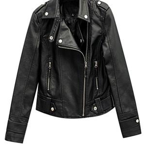 TRENDY XU Womens Slim PU Leather Coats Moto Zip Up Cropped Jacket Outwear (L)