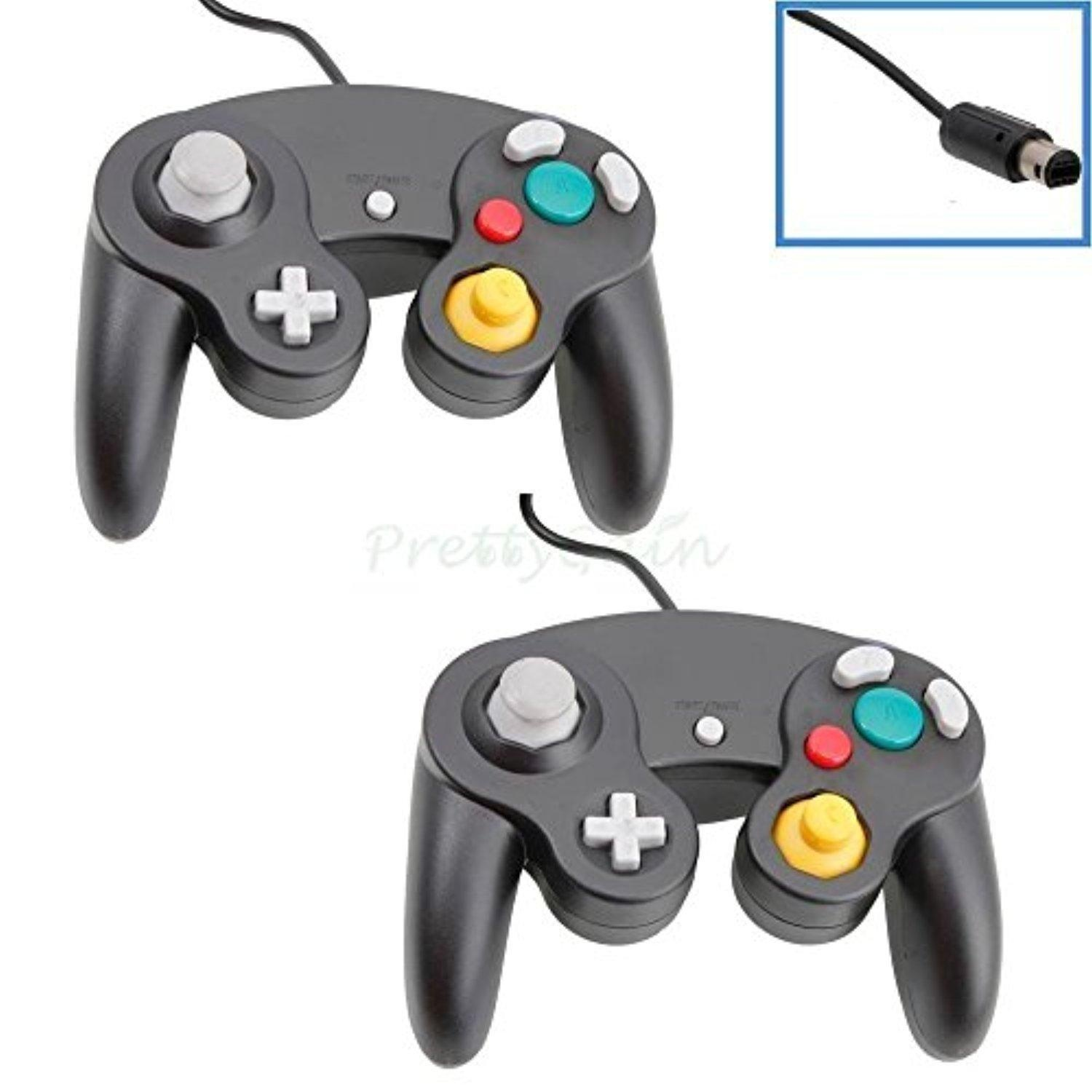 2 Set Durable Black Shock Game Controller Pad For Nintendo Gamecube Gc Wii  New