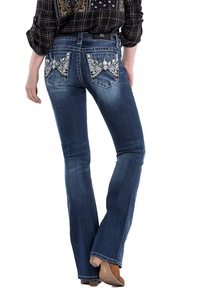 Miss Me Jeans Women's Ruffle My Feathers Angel Wings Boot Cut Medium Wash (30)