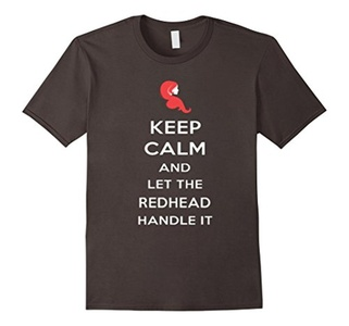 Men's Keep Calm And Let The Redhead Handle It Shirt Small Asphalt