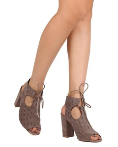 Qupid FF57 Women Faux Suede Peep Toe Perforated Cut Out Chunky Heel Bootie - Taupe (Size: 5.5)
