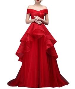Beautyfudre Women's Off the Shoulder Empire Tiered Ball Gown Wedding Dress
