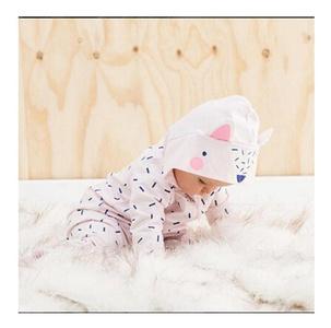 Fullkang Cute Infant Baby Boys Girls Print Hood Long Sleeve Romper Clothes (12M)