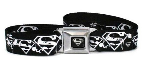 Superman Logo Seatbelt Buckle Black Strap Belt, Official Licensed by Buckle Down