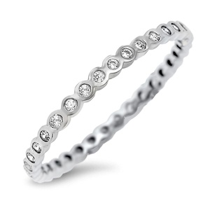 Stackable Eternity Band Promise Sterling Silver Clear Cubic Zirconia Midi Engagement Ring Sizes 4-10