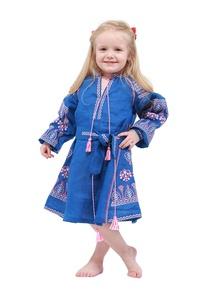 Embroidered Boho Long Dress Blue Child. Vyshyvanka. Ukrainian embroider Boho Style Dress (134)