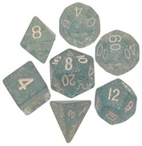 Polyhedral 7 Die Set Resin Dice: Ethereal Light Blue with White Numbers by Metallic Dice Games