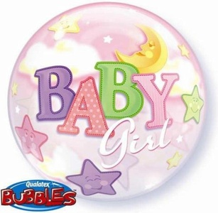 Baby Girl Moon & Stars 22 Qualatex Bubble Balloon by Baby, Christening & Baby Shower