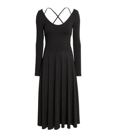 Sleek Calf-Length Black Dress