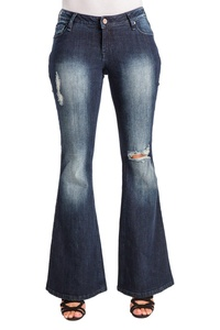 Poetic Justice Curvy Women's Dark Blue Stretch Denim Distressed Flare Jeans Size 31 x 34Length