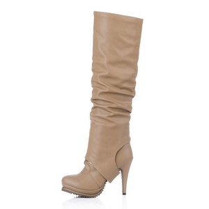 Women's Overknee Rounded Toe Tie-Up Platform Stiletto Multi-Use Ankle High Heel Boot for Fall Winter Beige Size: EU Size 35 - US B(M) 5