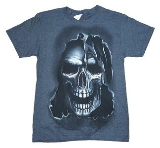 Halloween Skull Gray Graphic T-Shirt - 3XL