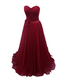 Winnie Bride Women's Strapless Prom Ball Dress Evening Gown for Wedding Long-26W-Burgundy