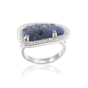 Halo Wedding Engagement Ring Special Cut Simulated Blue Lapis Lazuli Round CZ 925 Sterling Silver