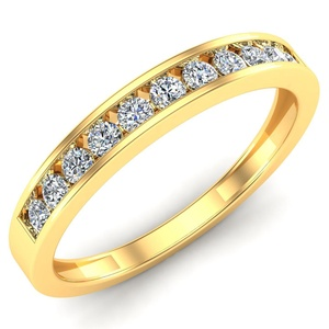 14k Yellow Gold Wedding Engagement CZ Band Ring Size 9