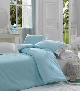 3 Piece Duvet Cover Set King Blue 100% Cotton Reversible bedding set - Plain Modern Design Solid Color (King,Turquoise)