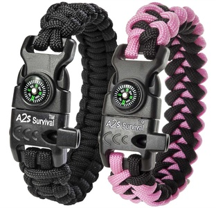 A2S Paracord Bracelet K2-Peak Series - Survival Gear Kit with Embedded Compass, Fire Starter, Emergency Knife & Whistle - Pack of 2 - Quick Release Slim Buckle Design (Black / Pink 7.5