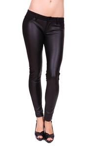 Celebrity Pink Women Black Ponte Skinny Pants with PU Leather 7 Black