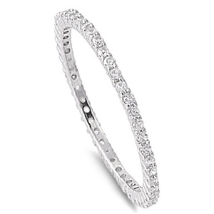 Sterling Silver Eternity Band Clear CZ Thin 2mm Ring Stackable Size 3 (RNG10048-3)