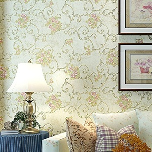 CCWY The American style non-woven cloth wallpaper bedroom living room TV wall high-end idyllic continental flowers Wallpaper