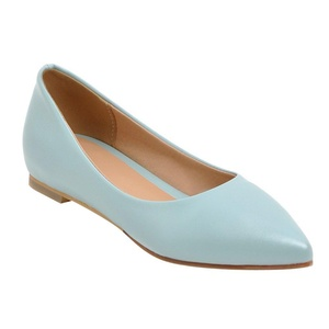 Latasa Women's Casual Pointed Toe Inside Low Wedges Flats Pumps (6.5, white)