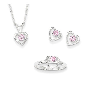 .925 Sterling Silver Children's Pink CZ Heart Pendant with Chain, Earrings and Ring Set