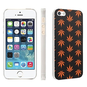 iPhone [SE/5/5S] Phone Case [Skinguardz] [Clear] Fancy Protection [Clear Form Fit] - [Orange Weed] for iPhone [SE/5/5S]