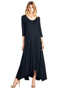 12 Ami Solid 3/4 Sleeve Pocket Loose Maxi Dress Black 3X