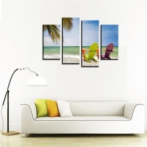 VVOVV Wall Decor - New Design Wall Decoration Canvas Painting Home Decor Sea Wave Scenery Painting Art Print Wall Pictures Waterproof Frame 4pcs 48x32inch,with frame