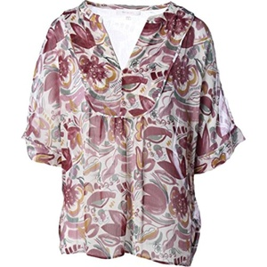 Two by Vince Camuto Womens Chiffon Elbow Sleeves Blouse
