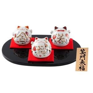 FUN fun Beckoning Cat (Maneki Neko) White Chinaware Height 3.1-Inch Syoumonraihuku