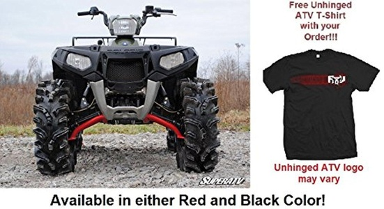 Bundled 2 items: Super ATV Polaris Sportsman XP/Scrambler High Clearance A-Arms and FREE Unhinged ATV T-Shirt (XL, Black)
