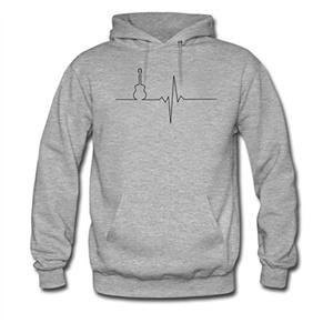 Guitar heart For men Printed Sweatshirt Pullover Hoody