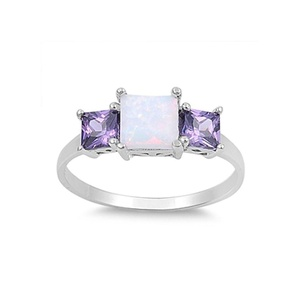 Three Stone Engagement Ring Princess Cut Lab Created White Opal Simulated Amethyst 925 Sterling Silver