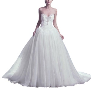 Women's Strapless Tulle A-line Wedding Dress Modest Wedding Gowns US 20W White