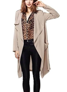 OURS Women's Thin Loose Laple Open Front Long Trench Coat Outerwear (M, Khaki)