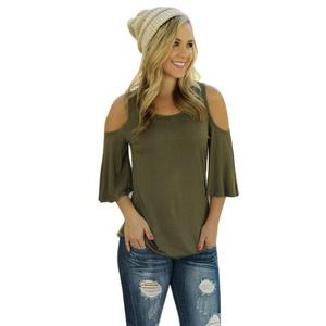 Miskay Women Short Sleeve Off Shoulder Shirt Casual Blouse (S, Green)