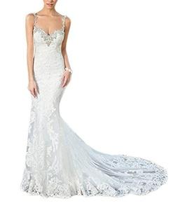 Meledy Women's Double V-Neck Lace Mermaid Spaghetti Straps Appliques Beaded Bridal Wedding Dress White US2