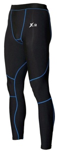 X-2 Men's Compression Pants Running Tights Base Layer Leggings Black-Blue Seams XXL