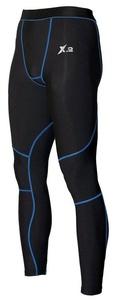 X-2 Men's Compression Pants Running Tights Base Layer Leggings Black-Blue Seams XXL