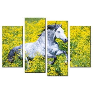 VVOVV Wall Decor - Modular Pictures Paint Canvas White Horse Yellow Flower Poster Print Painting Modern Home Decoration Wall Art For Christmas Gift 48x32inch,unframed