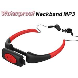8GB Waterproof MP3 IPX8 Music Player Underwater Sports Neckband Swimming Diving with FM Radio Earphone Stereo Audio Headphone Red