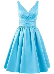 Angel Formal Dresses Women's V Neck Short Formal Party Bridesmaid Dress (10, Blue)
