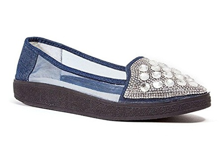 Lady Couture Sky Fashion Sneaker with Stones Shoe, Blue Denim - Size 35
