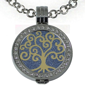 Quiges - Women Stainless Steel Necklace with 25mm Coin Locket and Coin Tree of Life/Flower of Life #1750